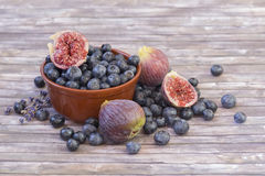 Fresh blueberries and figs in pottery Stock Images