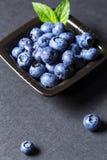 Fresh blueberries fruits on ceramic bowl. Stock Image