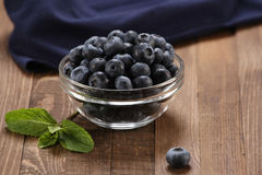Fresh blueberries in a glass bowl Royalty Free Stock Image