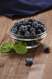 Fresh blueberries in a glass bowl Royalty Free Stock Images