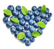 Fresh blueberries with green leaves Stock Image