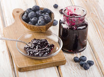 Fresh blueberries jam Stock Photos
