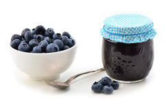 Fresh blueberries and jam Stock Photo