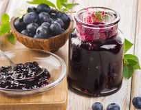 Fresh blueberries jam Stock Photo