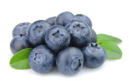 Fresh blueberries with leafs Royalty Free Stock Photos