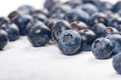 Fresh blueberries with mint on a wooden white table. Natural antioxidant. Concept of healthy food. Organic superfood Stock Images