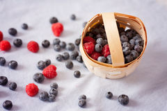 Fresh blueberries and raspberries in a basket on a blue  backgro Royalty Free Stock Images