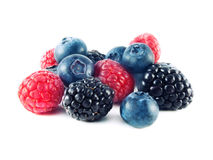Fresh blueberries, raspberries and blackberries Stock Photography