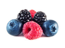 Fresh blueberries, raspberries and blackberries Stock Photo