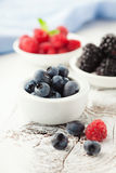 Fresh blueberries, raspberries and blackberries Royalty Free Stock Photos