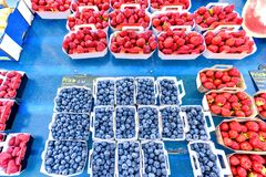 Fresh blueberries, raspberries and strawberries in little boxes. For sale in local marketplace Royalty Free Stock Image