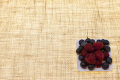 Fresh blueberries, raspberries on a white plate, closeup on a plate on a linen background closeup. Background for confectionery, c. Afe fresh berries for pastry Royalty Free Stock Photo