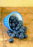 Fresh Blueberries Spilling onto Wood Table. Fresh blueberries spilling onto a rustic wooden table Royalty Free Stock Photos