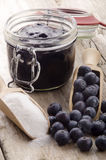 Fresh blueberries, sugar and blueberry jam Royalty Free Stock Image