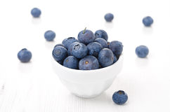 Fresh blueberries in a white bowl Stock Photo