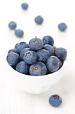 Fresh blueberries in a white bowl, close-up Royalty Free Stock Photos