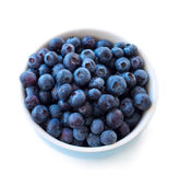 Fresh blueberries in white bowl on white Royalty Free Stock Photography