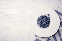 Fresh blueberries in white plate and space for text stock photo