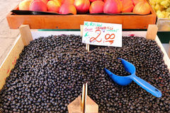 Fresh blueberries in a wooden box for sale. At the Rialto Market, Venice, Italy Royalty Free Stock Image