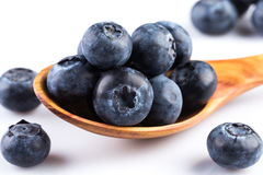 Fresh blueberries in wooden spoon Royalty Free Stock Photography
