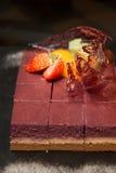 Fresh blueberry cheesecake slice, cream Royalty Free Stock Photography
