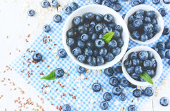 Fresh blueberry, great bilberry or bog whortleberry. Toning top view Royalty Free Stock Photos