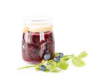 Fresh blueberry homemade jam on white background Royalty Free Stock Photos
