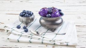Blueberry ice cream on pewter cup Royalty Free Stock Images