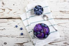 Blueberry ice cream on pewter cup Royalty Free Stock Photo