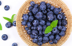 Fresh blueberry with leaf. On white background royalty free stock image
