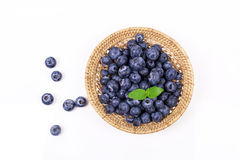 Fresh blueberry with leaf. On white background stock photography