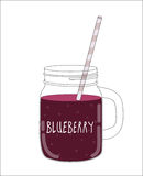 Fresh Blueberry Smoothie. Healthy Food. Vector Illustration Royalty Free Stock Image