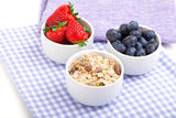 Fresh blueberry, strawberries, corn flakes Stock Image