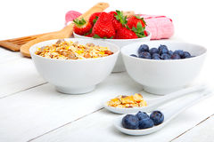 Fresh blueberry, strawberry and corn flakes Stock Images