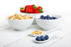 Fresh blueberry, strawberry and corn flakes Royalty Free Stock Photos