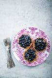 Fresh blueberry tart on vibrant plate Stock Photo