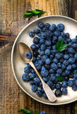 Fresh blueberry in to the basket Stock Images