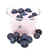 Fresh Blueberry yoghurt on white Royalty Free Stock Photo
