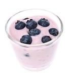 Fresh Blueberry yoghurt on white Stock Photo