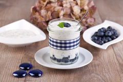 Fresh blueberry yogurt Royalty Free Stock Photography