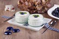 Fresh blueberry yogurt Stock Photo