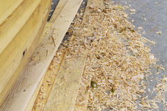 Fresh boards and wood shavings Royalty Free Stock Image