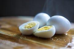 Fresh boiled eggs ready for breakfast stock images