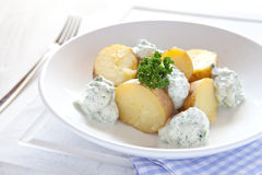 Fresh boiled potatoes. With cream cheese Royalty Free Stock Photography
