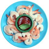 Fresh boiled shrimps in dish Royalty Free Stock Images