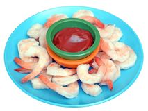 Fresh boiled shrimps in dish Royalty Free Stock Photography