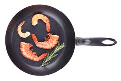 Fresh boiled shrimps on frying pan. Royalty Free Stock Images
