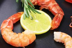Fresh boiled shrimps on frying pan. Royalty Free Stock Photo