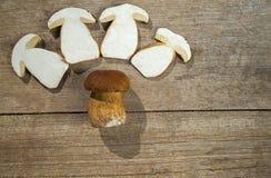 Fresh Boletus Edilus mushrooms - whole and sliced Stock Image
