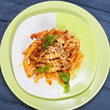 Fresh bolognese pasta overhead royalty free stock photography